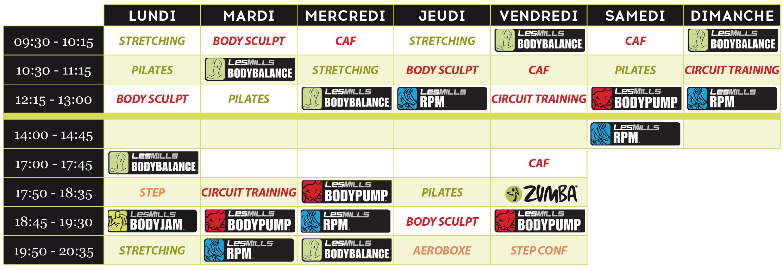Planning des cours Fitness à L'aquatonic Paris