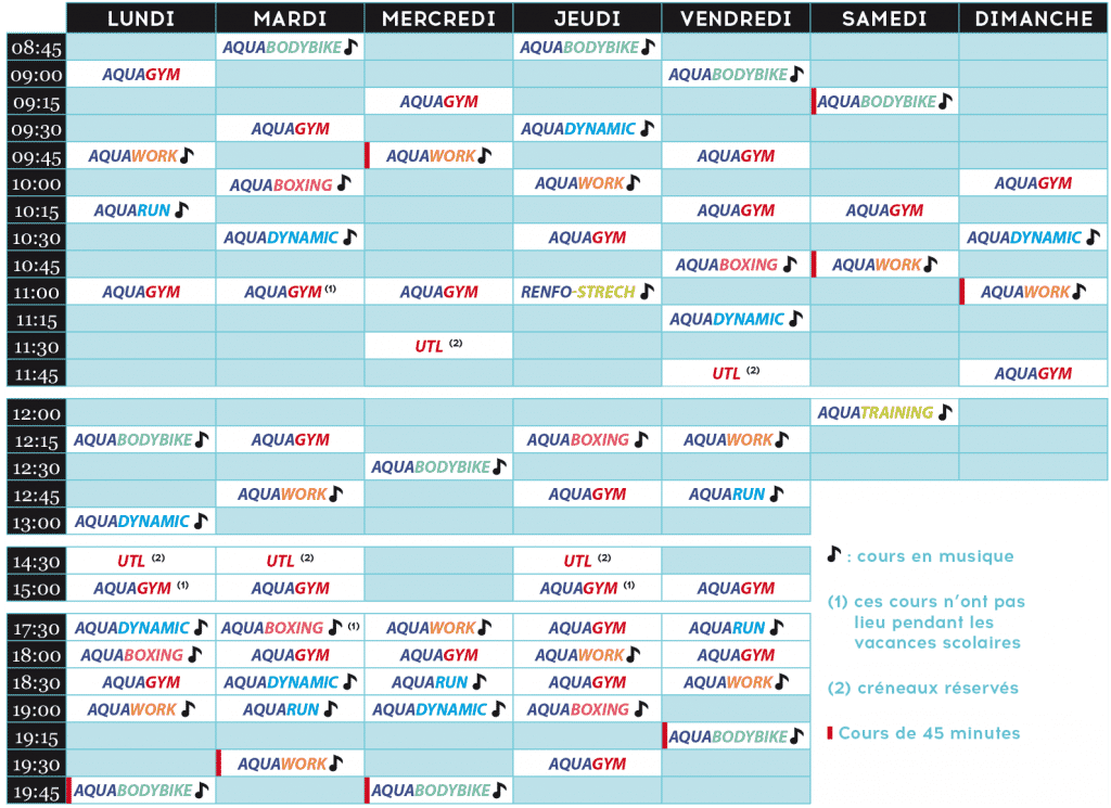 Aquatonic Rennes : planning cours aquas 2019