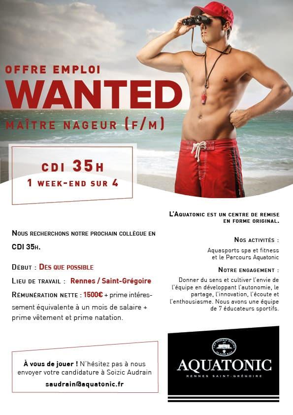 Emploi Maitre nageur sauveteur MNS à Rennes