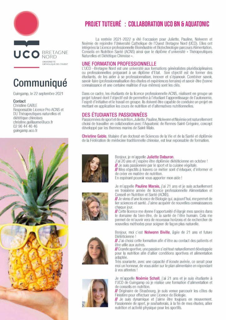 Communiqué presse UCO