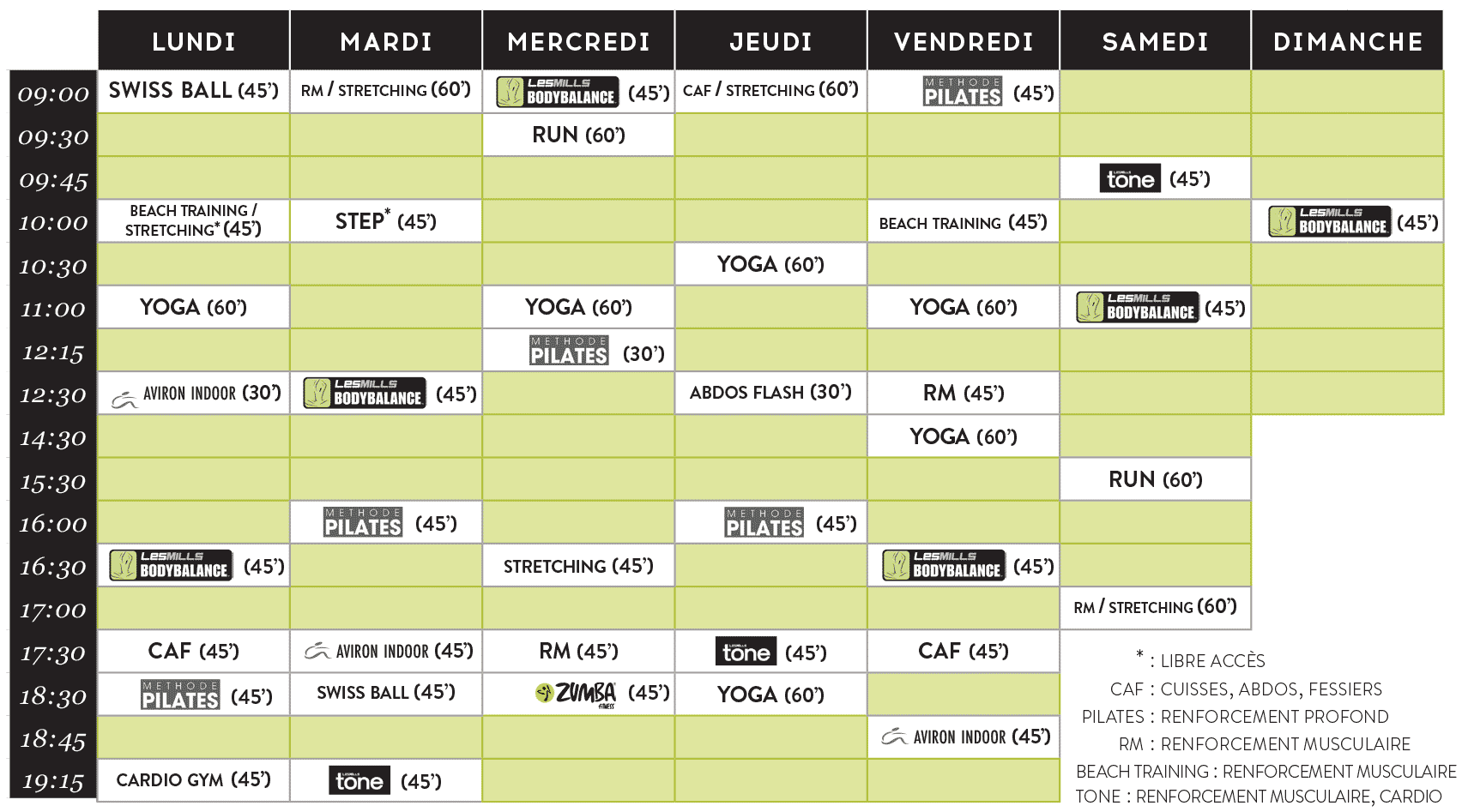 Planning Courst Fitness a Saint-Malo