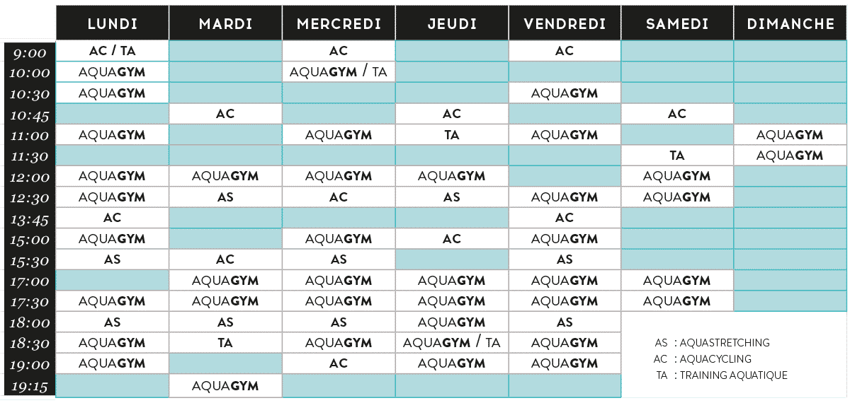 Planning des cours AQUA