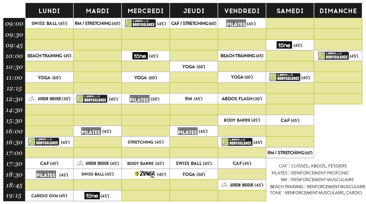 planning des cours FITNESS