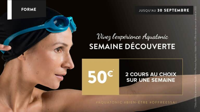 Testez 2 cours Fitness ou Aqua pour 50€
