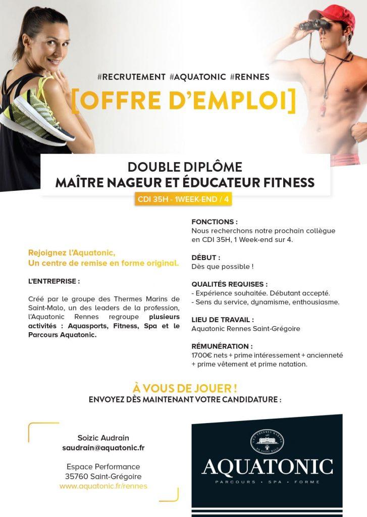 Recrutement Maitre Nageur éducateur fitness