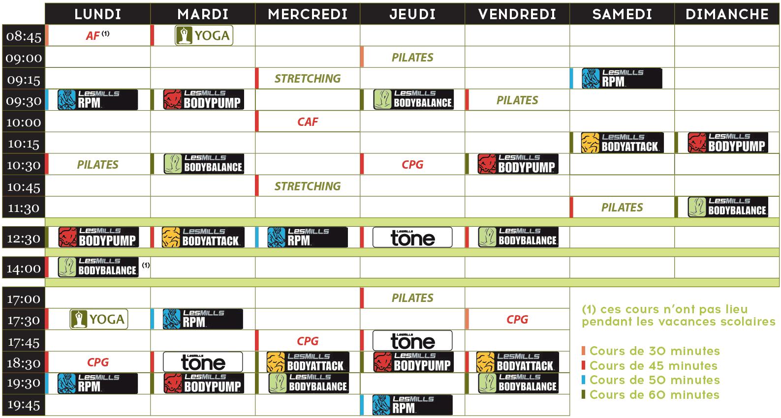 Planning des cours de fitness Aquatonic Rennes