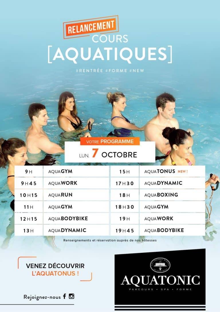 Relancement des cours Aquatique le 7 octobre