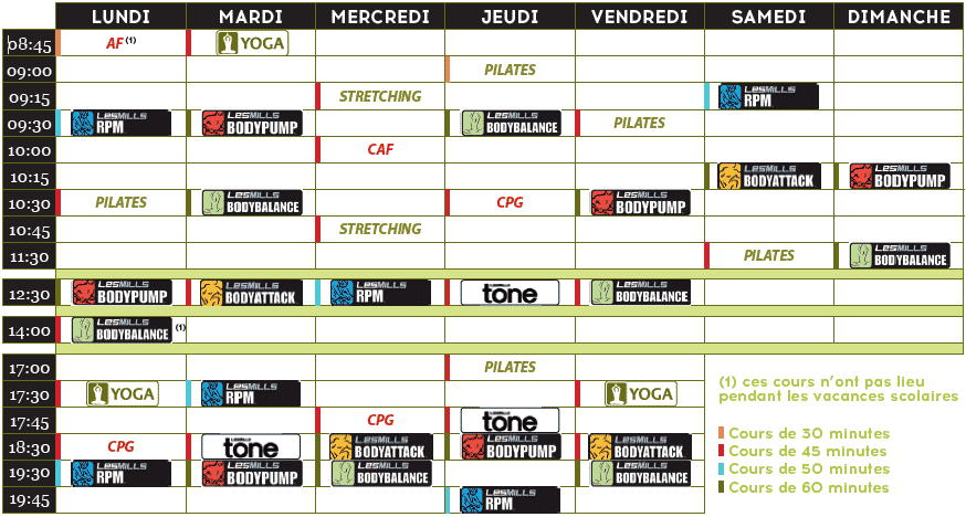Aquatonic Rennes : Planning Espace Fitness