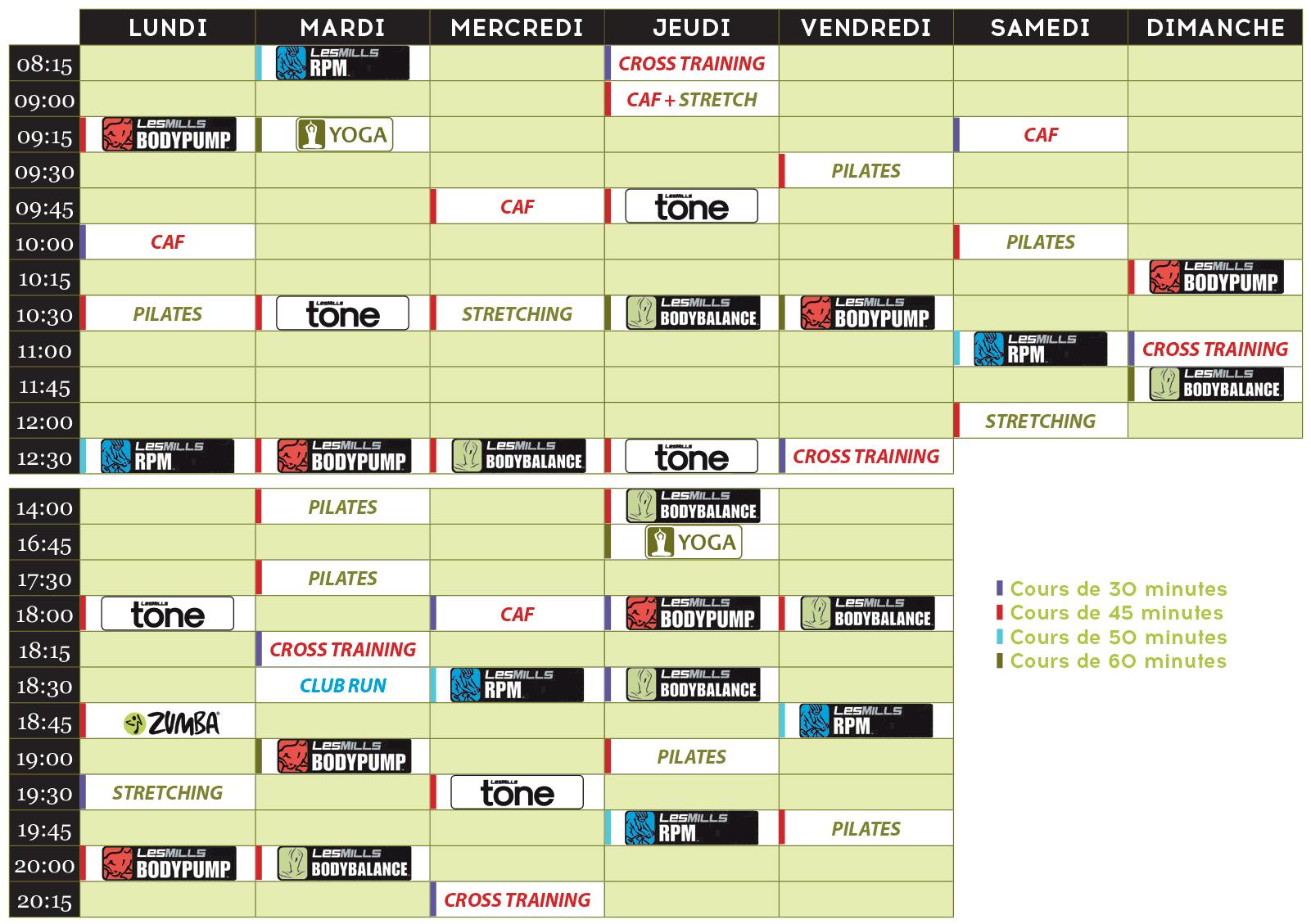 Planning des cours fitness Aquatonic Nantes