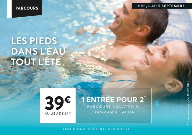 Offre Aquatonic : 1 entrée pour 2 : 39€