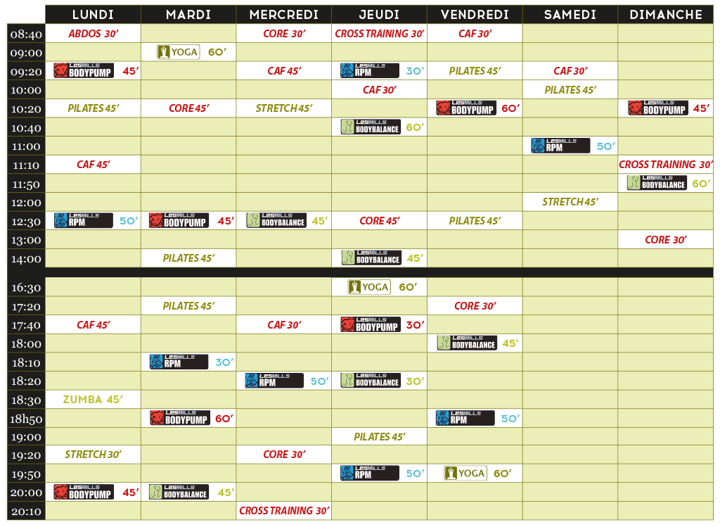 planning fitness septembre
