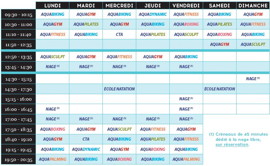 planning cours Aqua