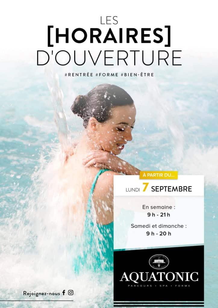 Horaires d'ouverture à partir du 7 septembre