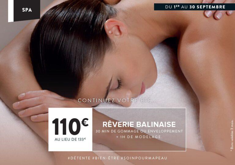 Soin Spa du mois : reverie Balinaise : 110€ au loieu de 133€